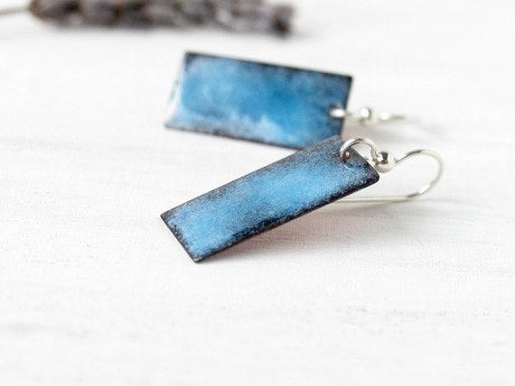 Enamel earrings blue sky and black rectangle sterling silver artisan jewelry by Alery