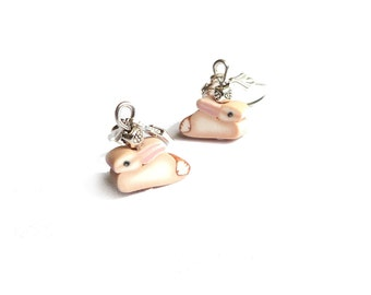 BUNNY earrings Miniature size, VALENTINE'S or Easter gift, 925 STERLING silver leverback, rabbit lapin, child jewelry polymer clay