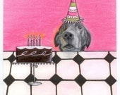 Dog Art Birthday Card, Black Labrador Fine Art Card,  Handmade Card, Pet Portrait, Funny Dog Card,Dog Waits for Cake