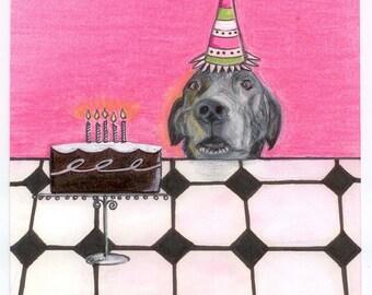 Dog Art Birthday Card, Black Labrador Fine Art Card,  Handmade Card, Pet Portrait, Funny Dog Card,Dog Waits for Cake
