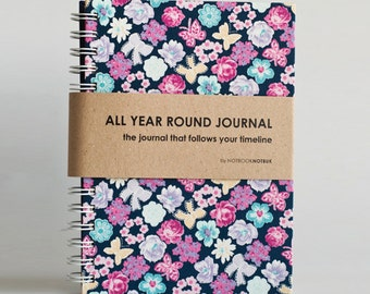 All Year Round Timeless Journal / Planner (Self-filled dates, fabric wrapped) - Purple Bloom
