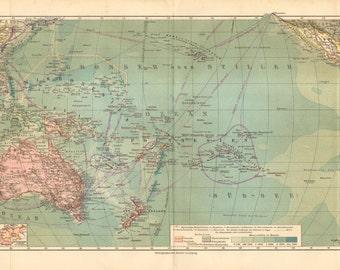 1909 Original Antique Map of Oceania or Oceanica, the Pacific Ocean, Australia and New Zealand