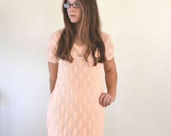 Lace Knit Sweater Dress - 1950s Pink Mid Century Boho Dress - Vintage Day Dress - Alternate Wedding Dress - Medium M