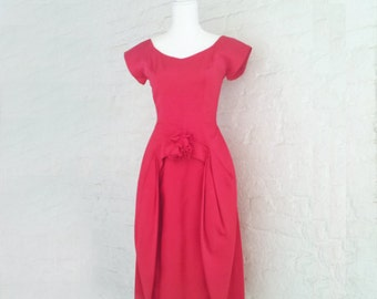 1950s Red Prom Dress 50s Vintage New Look Silk Satin Cupcake Full Tulip Skirt Small Bombshell Party Fit and Flare Mid Century Cocktail Dress