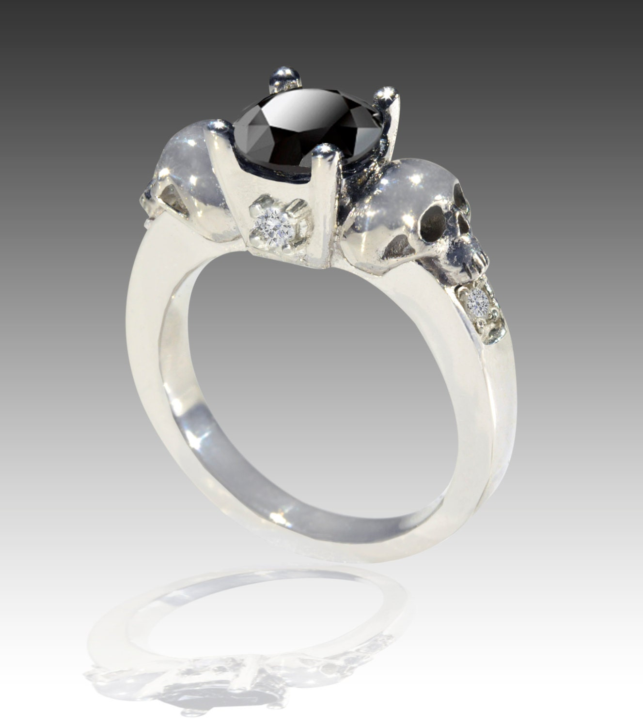 14k white gold black and white skull engagement ring
