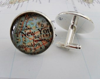 NEW YORK City Map Cufflinks // New York cuff links / NYC cufflinks / Father's Day // Groomsmen Gift // Gift for Him