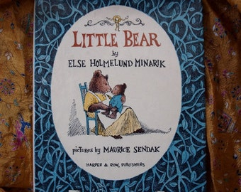 Maurice Sendak LIttle Bear 1957 by Else Holmelund Minarik Harper & Row Hardback Book Children Illustration Bear Cat Duck Chicken The Moon
