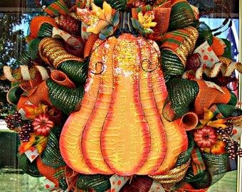 Fall Orange Pumpkin Deluxe Wreath