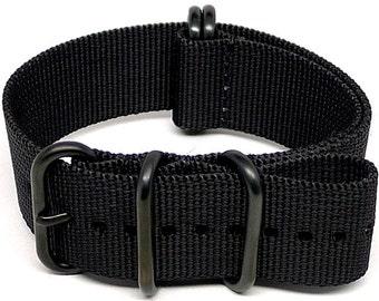 Ballistic Nylon NATO Watch Strap - Black (PVD Buckle)