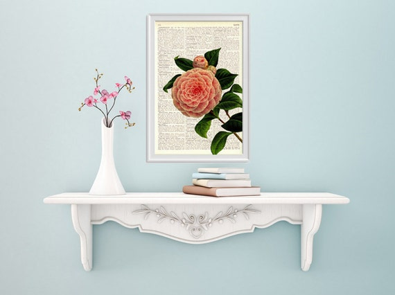 Spring Sale Camellia in soft pink printed on  Dictionary Page wall art home decor, wall hanging, flower Camellia wall decor BPBB109