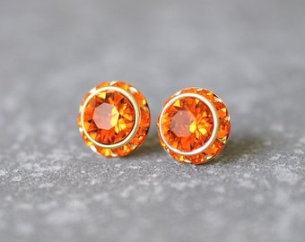 Orange Earrings Orange Bridesmaid Tangerine Halo Earrings Swarovski Crystal  Rhinestone Studs Sugar Sparklers Orange Wedding Fire Opal Gift