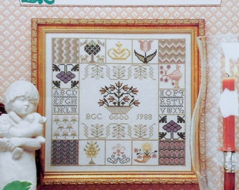 Rare Vintage MOTIF SAMPLER Antique Style By Just CrossStitch - Counted Cross Stitch Pattern Chart
