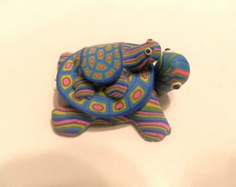 New Fimo Polymer Clay Rainbow Turtle w/ Baby Turtle Figurine Refrigerator Magnet