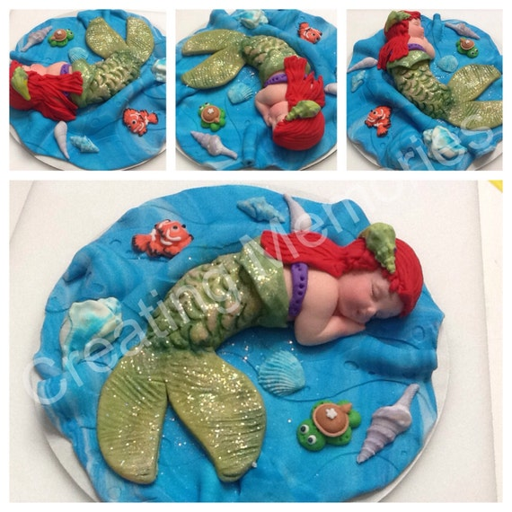 Edible Cake Images Mermaid : Baby Mermaid Edible Cake Topper Ready for your BABY SHOWER