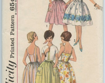 1960s Simplicity 4930 Sleeveless Sun Dress with Two Bodices and Jacket Full Skirt Vintage Sewing Pattern Bust 31.5 UNCUT