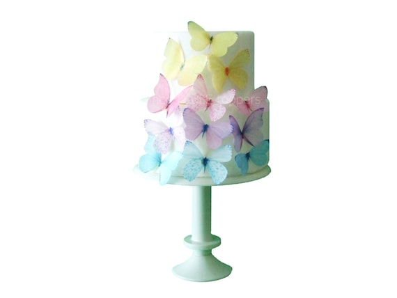Wedding Cake Topper Edible Butterflies In Pastel Cupcake