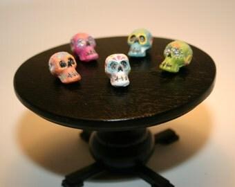 "Dia Los Muertos Miniature ""Sugar"" Skulls in Pink, Turquoise, Green, Orange, and White"