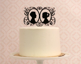 CUSTOM Wedding Cake Topper - Customized with YOUR OWN Silhouettes
