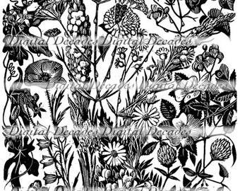 Mixed Wild Flowers WoodCut Style - Digital Image - Vintage Art Illustration