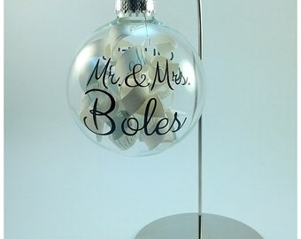 Our First Christmas - Personalized family name clear glass ornament
