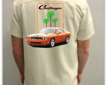 Muscle Car Shirt -Dodge Challenger-Orange-Men's Car Shirt in Ivory,Car Gift,Gift for him,Muscle Car shirt,Custom car gift, men's gift