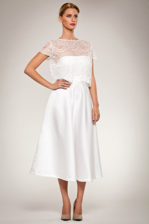 Wedding Gown Dress Set Cropped Lace Short Sleeve Top With