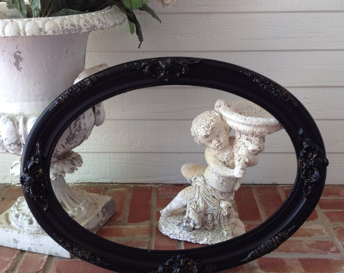 "ANTIQUE PICTURE FRAME - Scrolly Gesso Medallions Lovely Oval Shape Shabby Chic Black Painted / holds 14"" x 20"""