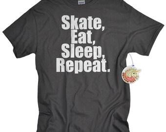 Skate Shirt Skate Eat Sleep Repeat skateboarding t shirt for boys girls teens longboarding tshirt gift for teen boys