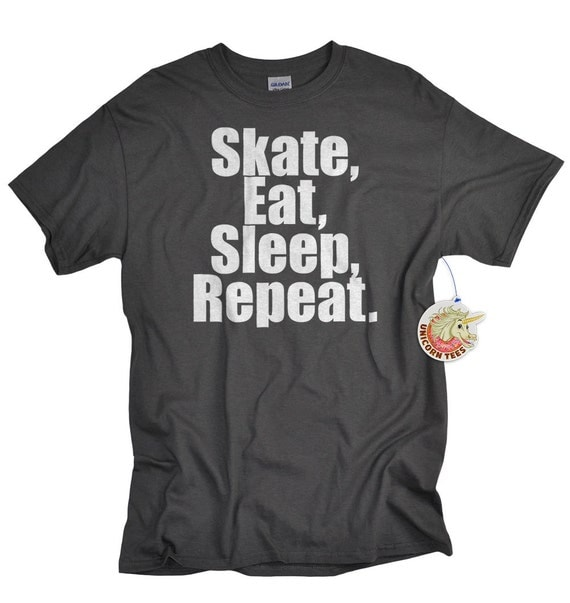 Skate Shirt Skate Eat Sleep Repeat skateboarding t shirt for boys girls teens longboarding tshirt gift for teen boys