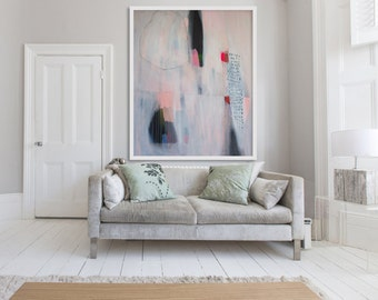 "Extra large ABSTRACT Print, cream, white, pink, mint green, modern GICLÉE print, expressionist ""Lock RIng No 8"""