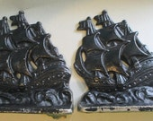Bookends Book Ends Antique Cast Iron Verona Tall Ship Sailing Clipper Ship Schooner nautical beach cottage Sail boat schooner upcycle