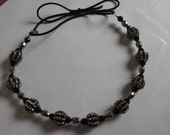 Black and Silver Crystal Metal Beaded Elastic Headband, for weddings, parties, evening, cocktail, special occasions
