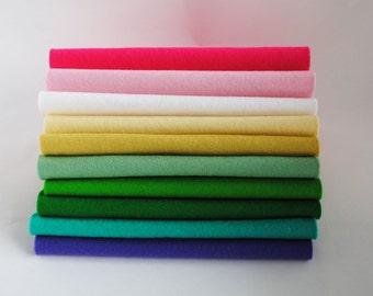 100 Percent Wool Felt Sheet - 10 pieces - 'Hydrandea' colour range