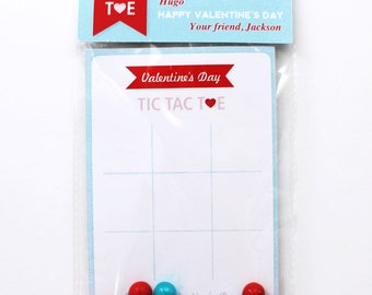 VALENTINES Tic Tac Toe Bag Topper and Game Card for School Favors – Add your own candy! Editable File. You Print.