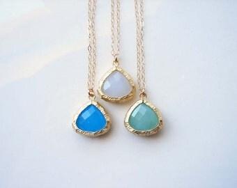 Sea Glass Color Teardrop Necklace. Choose Your Color. Beach Ocean Sea Summer. Simple Modern Jewelry