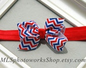 4th of July Chevron Hair Bow - Red, White and Blue Chevron Stripe Baby Girl Headband - Patriotic Bows for Babies, Toddlers and Little Girls