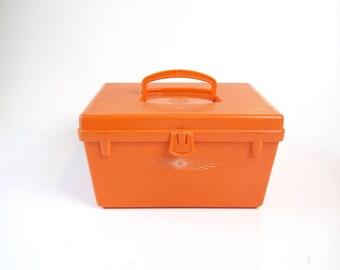 Vintage 60s mod atomic bright orange sewing box carry case with starburst