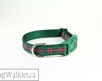 """Cameron of Lochiel Tartan Dog Collar // Green and Red Plaid // 3/4"""" (19mm) Wide // Martingale or Side Release // Choice of style and size"""