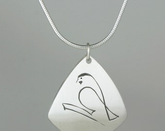 """Calligraphic Chickadee Pendant, Sterling Silver Kite-Shaped Disc, 1"""" high"""