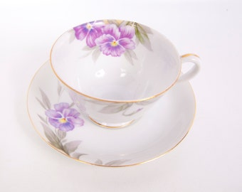 Vintage Purple Violets Teacup Saucer Tea Cup Saucer Made in Japan Gold Trim Hand Painted Porcelain