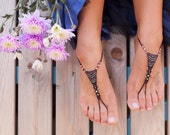 Macrame and Brass Barefoot Sandals reserved for Gwen