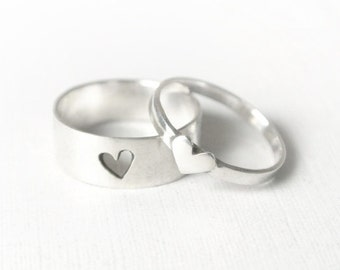 tiny hearts - promise rings/ promise ring set/ couple jewelry/ couples rings/ couples jewelry/ hers and hers/ his and hers/ couple rings