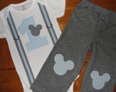 Mickey Mouse 1st Birthday Outfit,  Mickey First Birthday Bodysuit and Pants Set for Baby Boy, Cake Smash Outfit for Boys