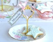 Sweet single tier wedding place holder / favor / mini cake stand: Royal Albert Sweet Pea handled cake / tidbit tray, pretty jewelry display