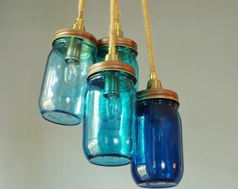 4 Light Mason Jar Chandelier, Copper Finish & Blue Glass Tints Ranging From Ocean to Cobalt