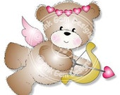 Digital (Digi) Cute Bear Stamp 'Cupid Beart' . Makes A Cute Valentine/Love  Project