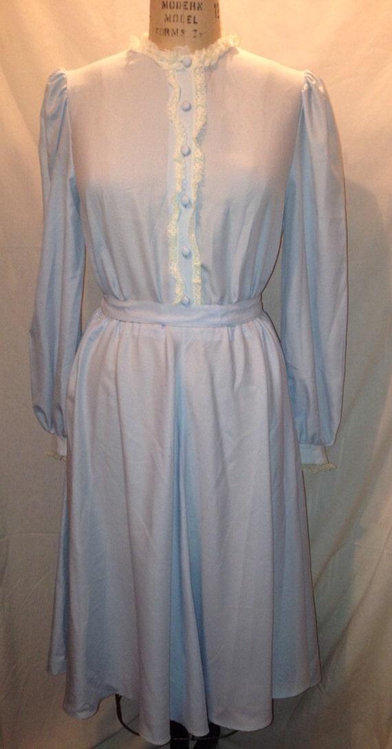 Vintage 70s Blue Polyester Dress Approx. Size 14-16 Sale d40
