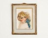 Vintage Original Signed Watercolor Painting Female Portrait - Art Deco