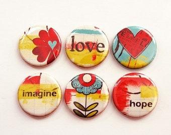 Love Hope Imagine Magnets, Magnets, button magnets, Kitchen Magnets, Locker Magnets, Flowers, Hearts, Bright colors, magnet set (3333)