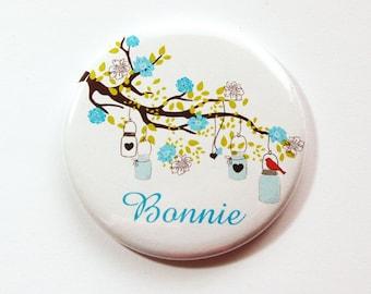 Personalized pocket mirror, mirror, custom pocket mirror, bridesmaid gift, pocket mirror, purse mirror, bridal shower favor, blue (3464)
